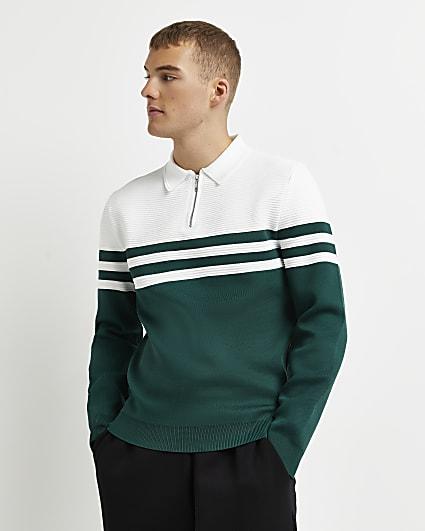 Green slim fit long sleeve stripe polo shirt
