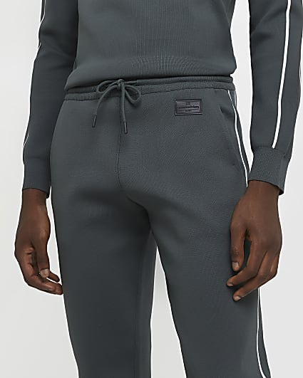Green slim fit piping detail joggers