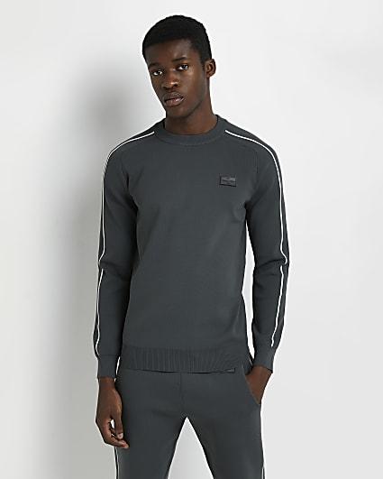 Green slim fit piping detail sweatshirt