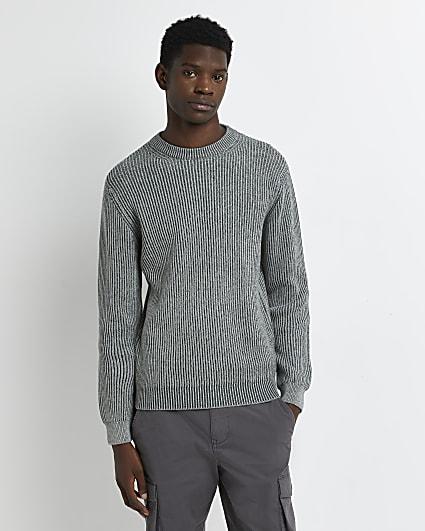 Green slim fit plaited rib jumper