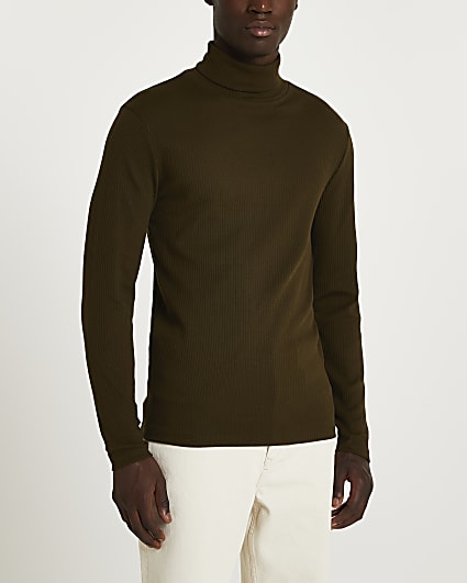 Green slim fit ribbed roll neck t-shirt