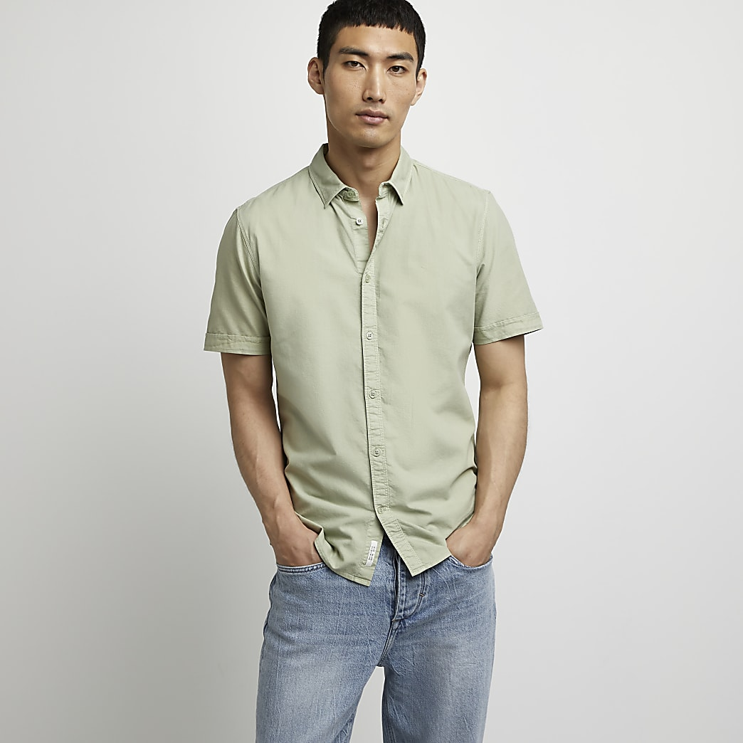 Green slim fit short sleeve Oxford shirt