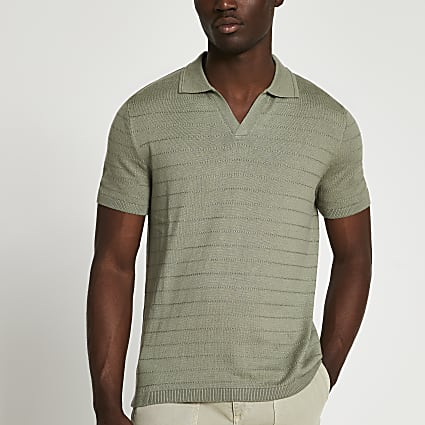 Green slim fit short sleeve polo shirt