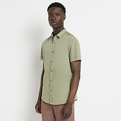 Green slim fit short sleeve shirt