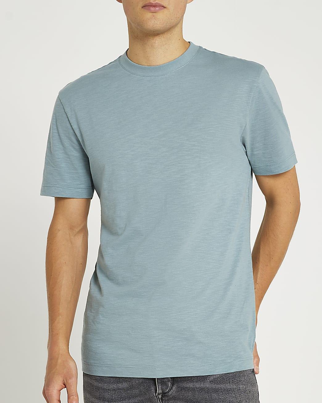 Green slim fit slub t-shirt