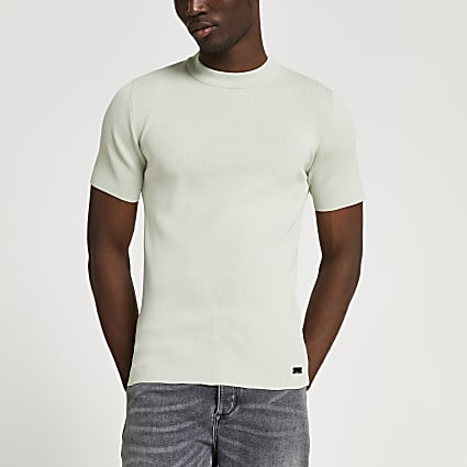 Green slim fit smart knit t-shirt