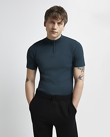 Green slim fit smart knitted zip polo shirt