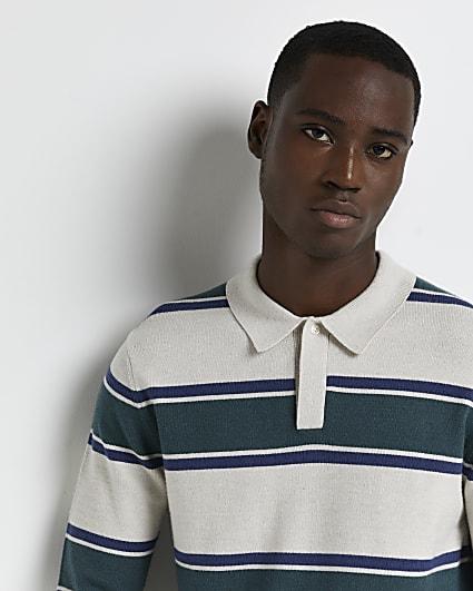 Green slim fit stripe polo shirt