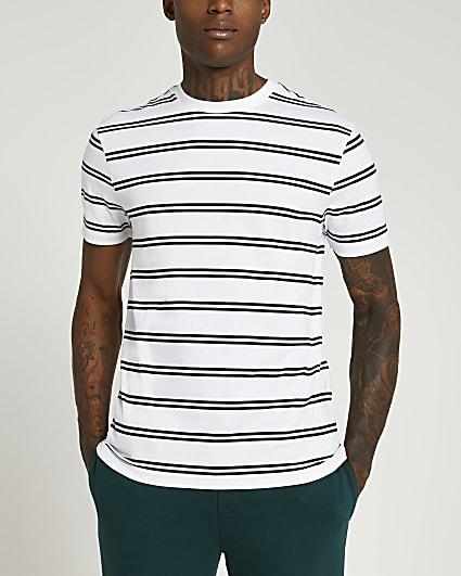 Green slim fit stripe t-shirt