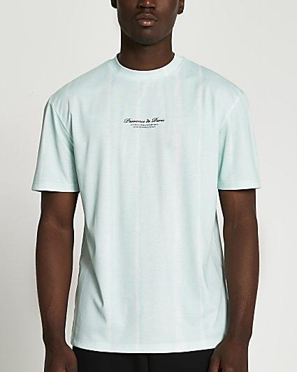 Green slim fit stripe tie dye t-shirt