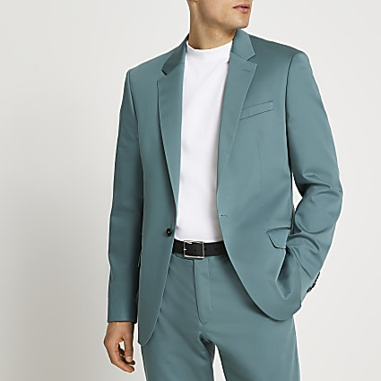 Green slim fit suit jacket