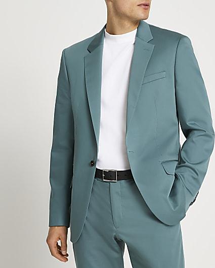 Green slim fit suit jacket