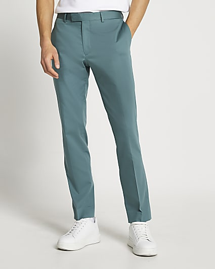Green slim fit suit trousers