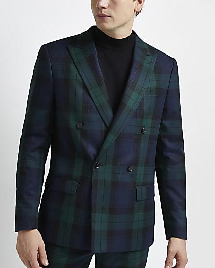 Green slim fit tartan print blazer