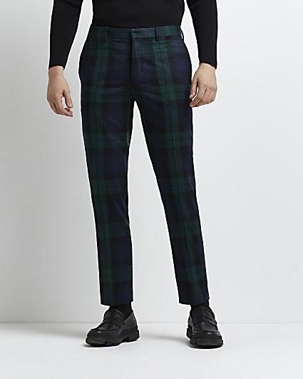 Green slim fit tartan print suit trousers