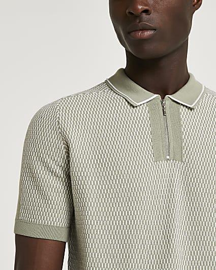 Green slim fit zip short sleeve polo shirt