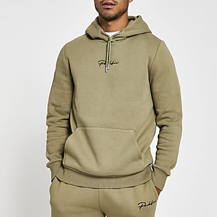 Green slim long sleeve prolific hoody