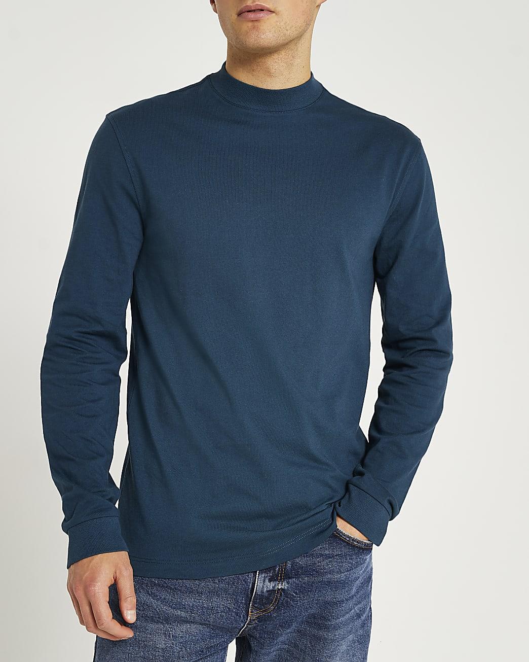 Green slim turtle neck long sleeve t-shirt