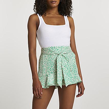 Green soft frill shorts
