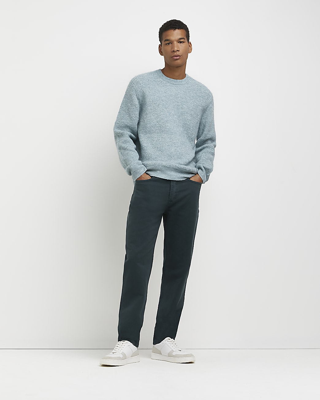 Green soft touch slim fit waffle jumper
