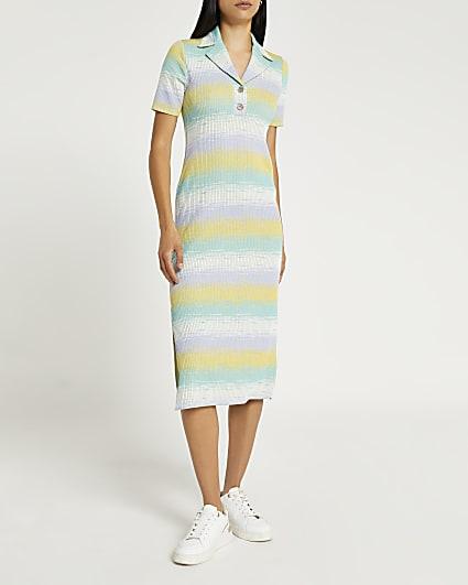 Green space dye printed midi dress