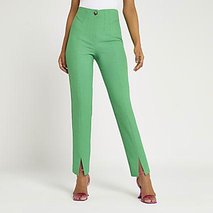 Green Split Front Cigarette Trouser