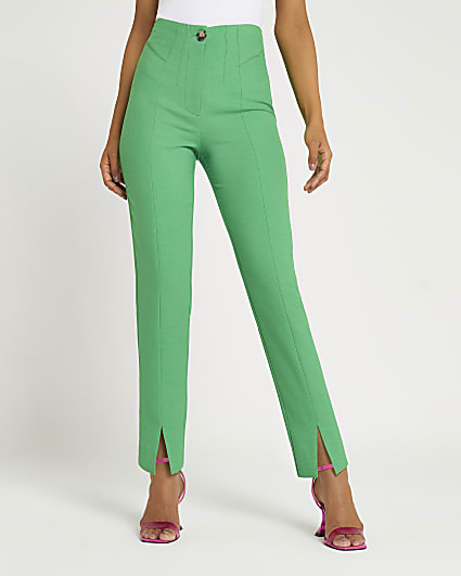Green split front cigarette trousers