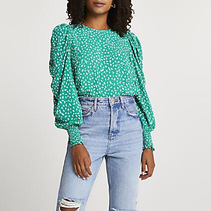 Green spot print puff sleeve blouse top