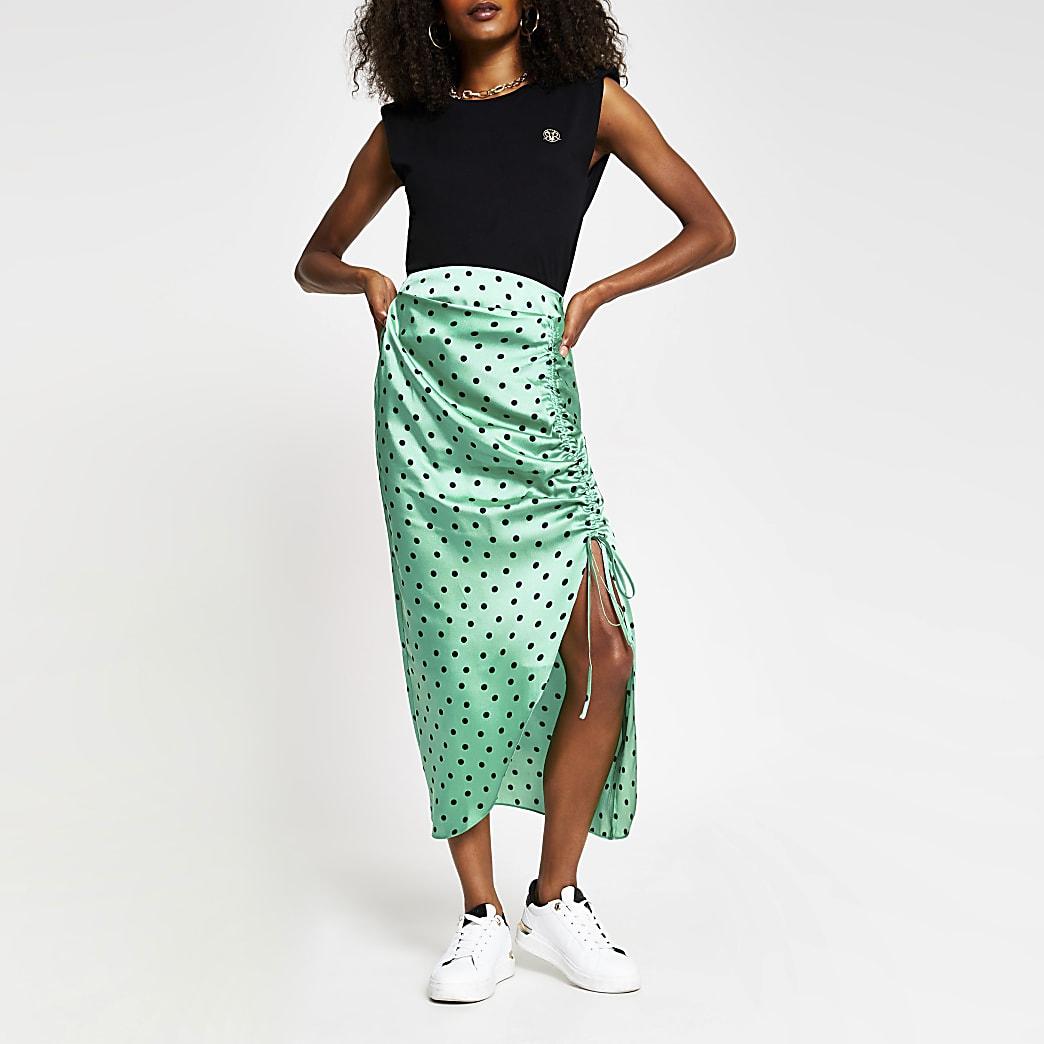 Green spot print satin ruched midi skirt
