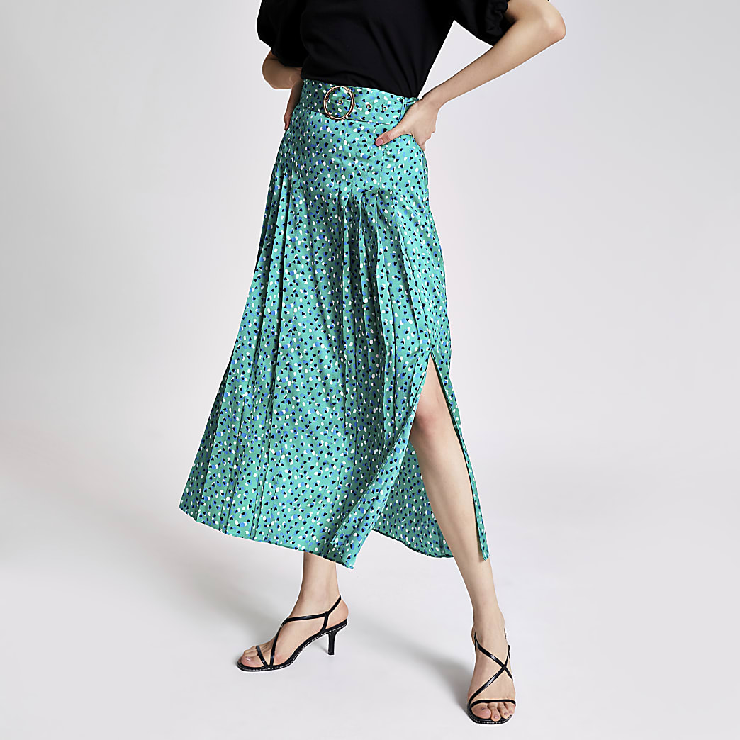 Green spot printed belted midi skirt