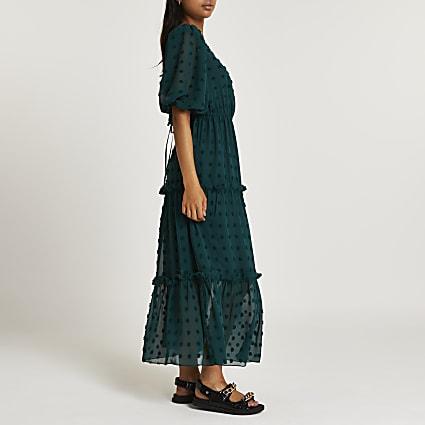 Green spot puff sleeve smock midi dress