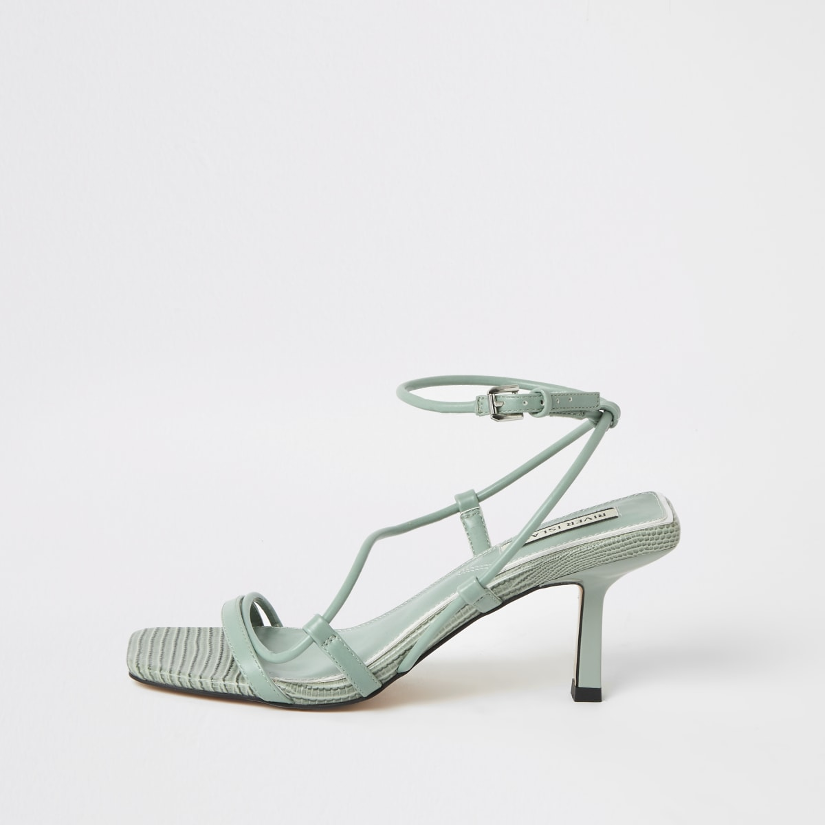 Green square toe midi heel sandals