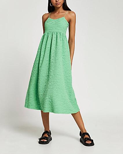 Green strappy cami midi dress