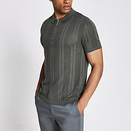 Green stripe half zip slim fit knit polo top