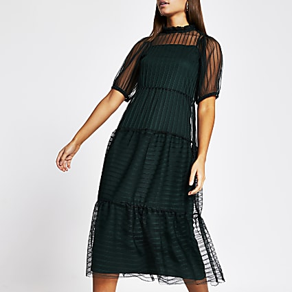 Green stripe mesh short sleeve midi dress
