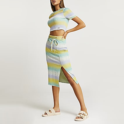 Green stripe print midi skirt