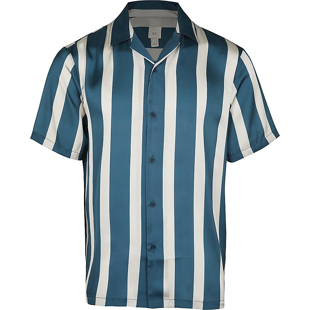 Green stripe revere short sleeve shirt