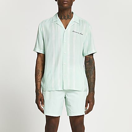Green stripe revere short sleeve shirt