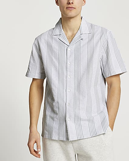 Green stripe short sleeve shirt