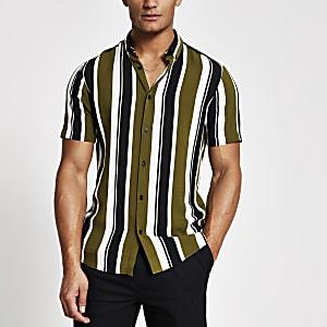 Groen gestreept slim-fit overhemd met korte mouwen