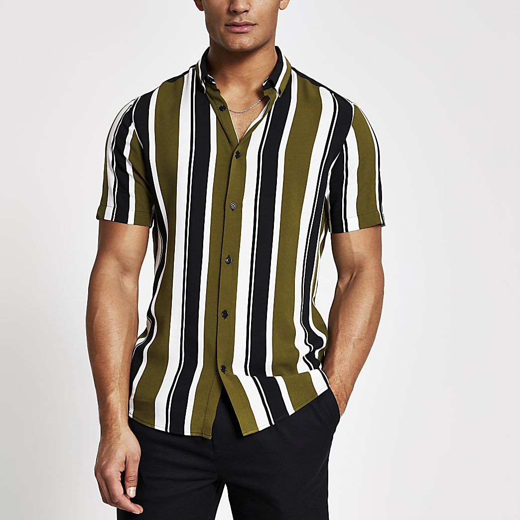 Green stripe short sleeve slim fit shirt