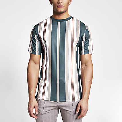 Green stripe short sleeve slim fit T-shirt