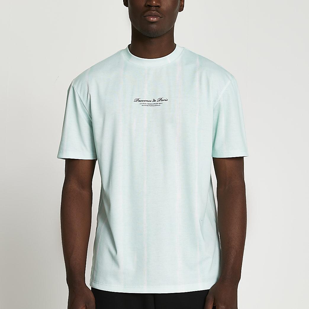 Green stripe tie dye t-shirt