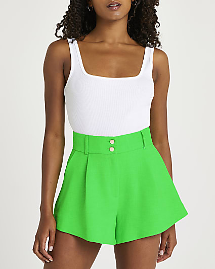 Green structured shorts