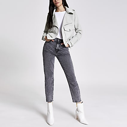 Green suedette pocket front cropped jacket