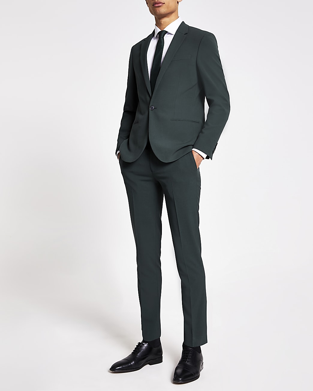 Green super skinny suit trousers