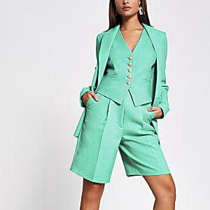 Groene tailored bermudashort