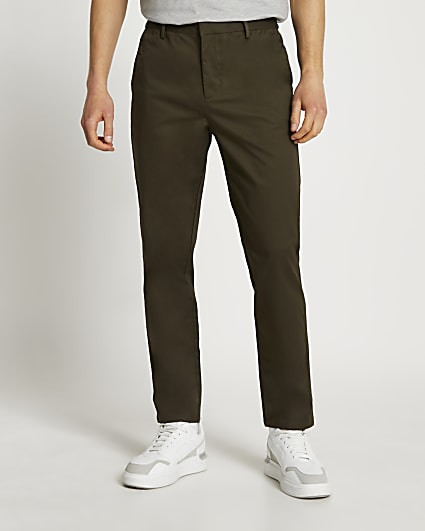 Green tapered chino trousers