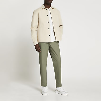 Green tapered chinos