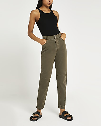 Green tapered twill trousers